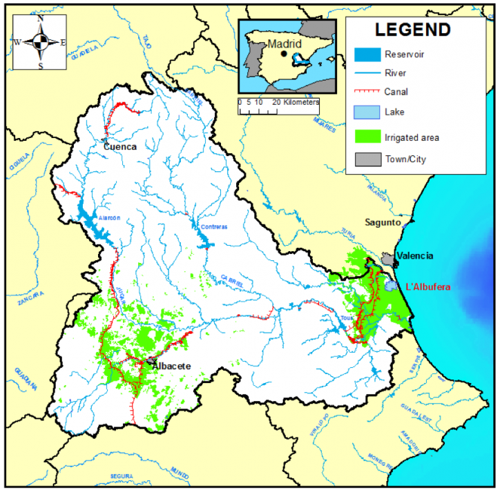 Figure 1: Jucar River Basin map including rivers, main infrastructures, and urban and irrigation demands.
