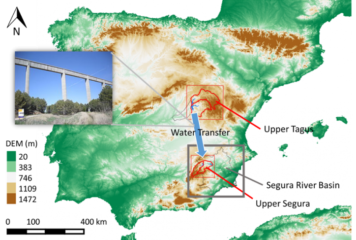 Figure 3: Segura River Basin (gray square) location. Schematic of the water transfer infrastructure (pipes, pump-turbines, lifting station, tunnels, aqueducts). Red squares delimit the upper Tagus and upper Segura River Basins.